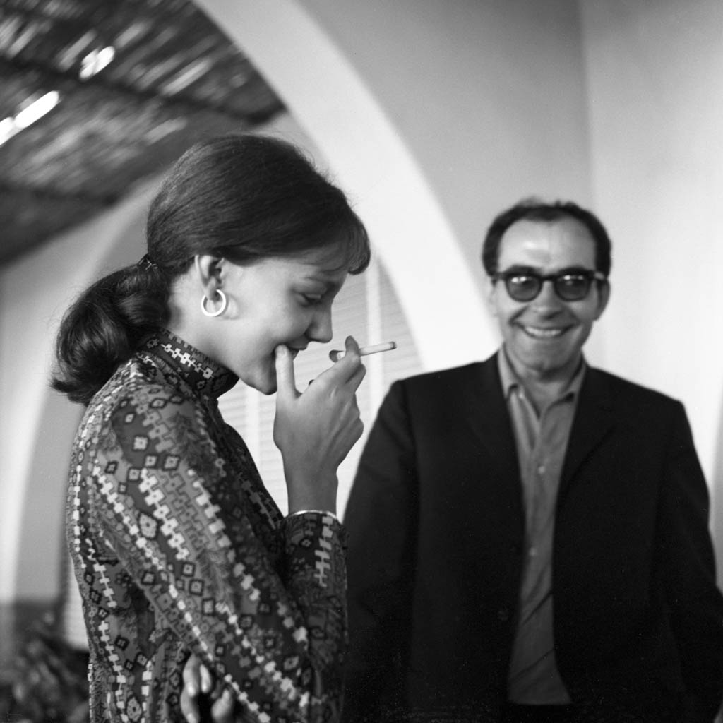 French director Jean Luc Godard with Anne Wiazemsky after lunch, Lido, Venice, 1967. (Photo by Archivio Cameraphoto Epoche/Getty Images)